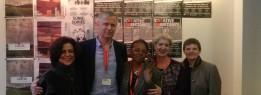 Lucia Castello Branco (UFMG), Helge Lunde (ICORN), Leda Martins (UFMG), Sylvie Debs (CABRA), Elisabeth Dyvik (ICORN) na Assembleia Geral de ICORN/PEN Internacional em Amsterdam maio de 2015